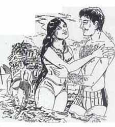 """தண்ணீரில் இறங்க அஞ்சிய பத்மாவை ஸ்ரீதர் """"பயப்படாதே பத்மா! நான் உனக்கு நீந்தப் பழக்குகிறேன். இறங்கு"""" என்று பல தடவை சொல்லியும் அவள் கேட்காமல் போகவே, ஸ்ரீதர் அவளை முரட்டுத்தனமாகத் தன் கரத்தால் பற்றித் தண்ணீருள் இழுத்துச் சென்று விட்டான். முதலில் பத்மா இதனை எதிர்த்துச் சிணுங்கிக் கூச்சலிட்ட போதிலும், பின்னால் சிரித்த முகத்துடன் அவன் தோள்களைப் பற்றிக் கொண்டு, """"எனக்குப் பயமாயிருக்கிறது! நீந்தச் சொல்லித் தாருங்கள்"""" என்று உற்சாகமாகச் சப்தமிட்டாள்."""